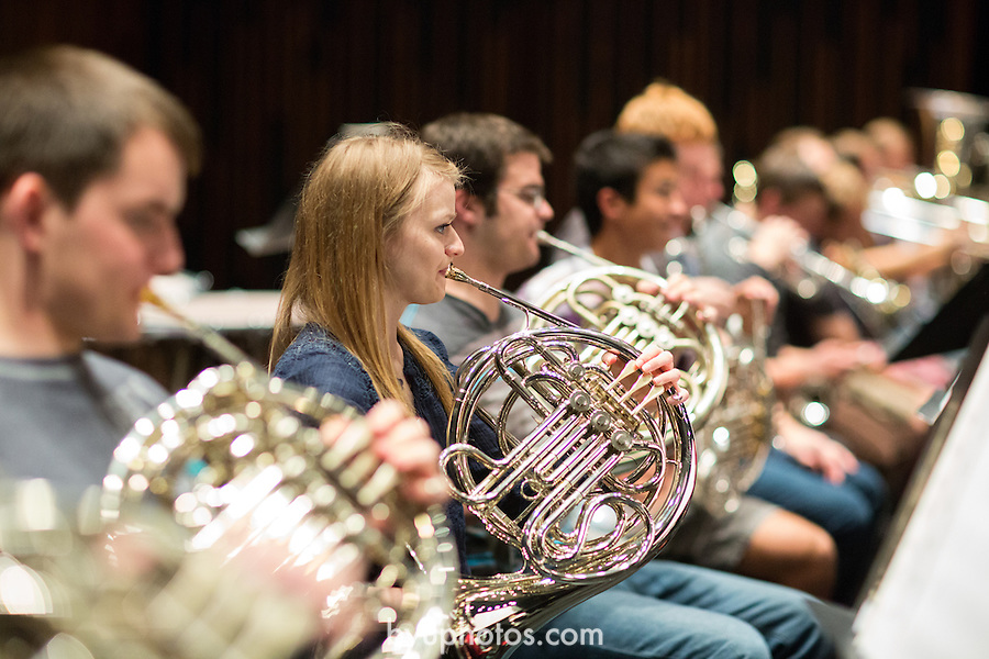 1309-67 034<br /> <br /> 1309-67 Music - Philharmonic Orchestra Rehearsal. De Jong Stage.<br /> <br /> Instruments<br /> Class<br /> <br /> September 30, 2013<br /> <br /> Photo by Bella Torgerson/BYU<br /> <br /> &copy; BYU PHOTO 2013<br /> All Rights Reserved<br /> photo@byu.edu  (801)422-7322