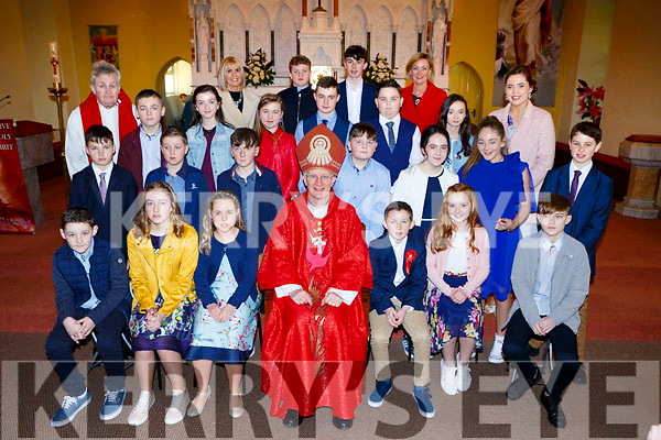 Cullina NS pupils with Bishop Ray Browne and Fr Fergal Ryan at their Confirmation in St Marys church Beaufort on Tuesday Front row l-r: Ruairi Farrell, Aoibhin Coffey, Ruby Twohy, Dara Foley, Maeve Crowley. Second row: Jerimiah Landers, MatthewO'Loughlin, Liam Coffey, Liam O'Sullivan, Ava O'Malley, Aisling McGann, killian Caulfield-Dreir, Third row: Alfie Barrett, Ava Foley, Molly Gabbett, Adrian Johnson, Cathal Lannigan Ryan, Ellie Mangan, Bronagha murphy. Back row: Moira Cronin former Principal, Pierse Slattery, Shane Galvin, Marie Murphy