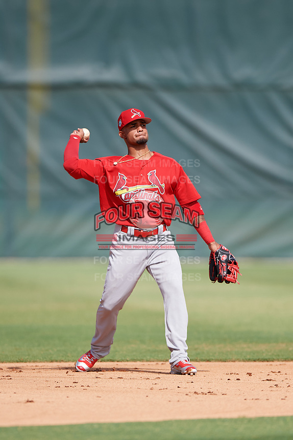 GCL Cardinals second baseman Eliezer Alvarez (13) throws to first base during a game against the GCL Mets on July 23, 2017 at Roger Dean Stadium Complex in Jupiter, Florida.  GCL Cardinals defeated the GCL Mets 5-3.  (Mike Janes/Four Seam Images)