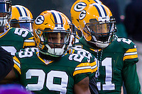Green Bay Packers safety Kentrell Brice (29) and safety Ha Ha Clinton-Dix (21) prior to a game against the New York Giants on January 8th, 2017 at Lambeau Field in Green Bay, Wisconsin.  Green Bay defeated New York 38-13. (Brad Krause/Krause Sports Photography)