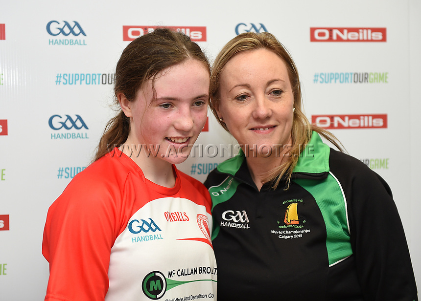19/03/2018; 40x20 All Ireland Juvenile Championships Finals 2018; Kingscourt, Co Cavan;<br /> Girls Under-14 Singles; Kilkenny (Amy Brennan) v Tyrone (Clodagh Munroe)<br /> Clodagh Munroe with her mother Ethine.<br /> Photo Credit: actionshots.ie/Tommy Grealy