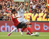 20190803 - LENS , FRANCE : Lens' Seif Touka (L) and Guingamp's nolan Roux (R) pictured during the soccer match between Racing Club de LENS and En Avant Guingamp , on the second matchday in the French Dominos pizza Ligue 2 at the Stade Bollaert Delelis stadium , Lens . Saturday 3 th August 2019 . PHOTO DIRK VUYLSTEKE | SPORTPIX.BE