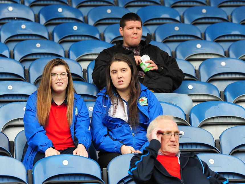 Blackburn Rovers fans before kick off<br /> <br /> Photographer Andrew Vaughan/CameraSport<br /> <br /> Football - The Football League Sky Bet Championship - Huddersfield Town v Blackburn Rovers - Saturday 15th August 2015 - The John Smith's Stadium - Huddersfield<br /> <br /> &copy; CameraSport - 43 Linden Ave. Countesthorpe. Leicester. England. LE8 5PG - Tel: +44 (0) 116 277 4147 - admin@camerasport.com - www.camerasport.com