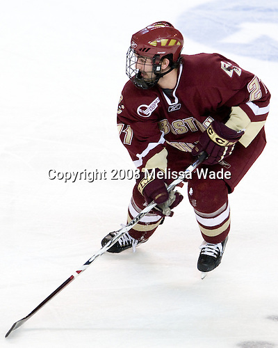 Benn Ferriero (BC - 21) - The Boston College Eagles defeated the Miami University Redhawks 4-3 in overtime on Sunday, March 30, 2008 in the NCAA Northeast Regional Final at the DCU Center in Worcester, Massachusetts.