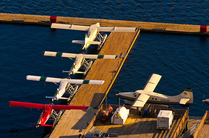 Overview of a float plane base, Ketchikan, Southeast Alaska USA
