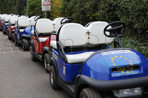 30/09/2010   Ryder Cup Buggies at the Ryder Cup 2010 course, Celtic Manor resort, Newport, Wales on the third practice day of  the Ryder Cup 2010 between Europe and USA