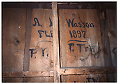 Photograph of inside wall of Embudo freight house showing the name &quot;A. Wasson&quot; from &quot;Feb. 1897&quot;.<br /> D&amp;RGW  Embudo, NM