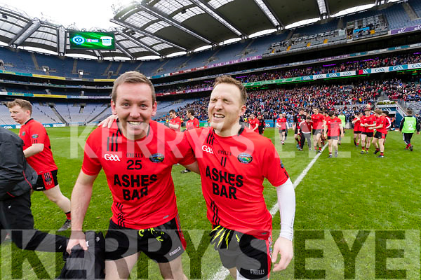 Kieran Cahillane and Darran O'Sullivan Glenbeigh Glencar players celebrate their victory over Rock Saint Patricks in the Junior Football All Ireland Final in Croke Park on Sunday.