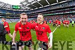 Kieran Cahillane and Darran O'Sullivan Glenbeigh Glencar players celebrate their victory over Rock Saint Patricks in the Junior Football All Ireland Final in Croke Park on Sunday.