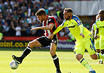 Ched Evans of Sheffield Utd tussles with Richard Keogh of Derby County during the Championship match at Bramall Lane, Sheffield. Picture date 26th August 2017. Picture credit should read: Simon Bellis/Sportimage