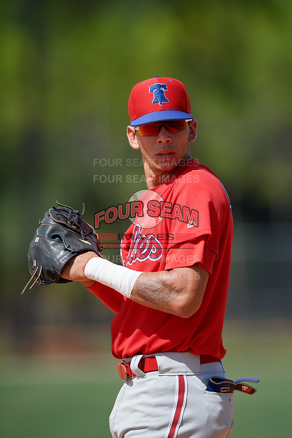 Philadelphia Phillies first baseman Juan Herrera (9) during an Instructional League game against the Detroit Tigers on September 19, 2019 at Tigertown in Lakeland, Florida.  (Mike Janes/Four Seam Images)