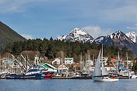 Harbor in the coastal community of Sitka, Alaska, located on Baranof Island.