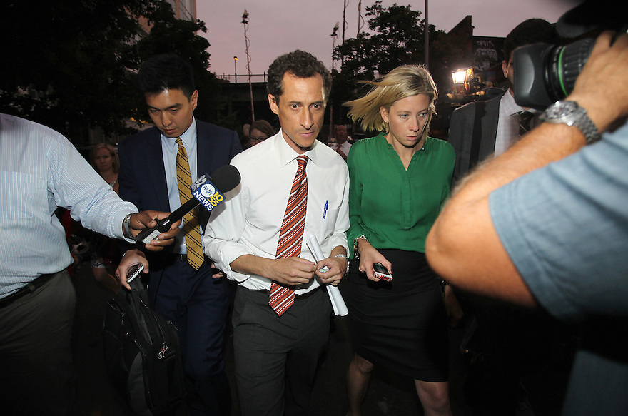 Anthony Weiner is seen departing from the Voces Latinas Mayoral Forum on Thursday, July 25, 2013 in Queens, New York. (AP Photo/ Donald Traill)