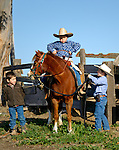 Evan ready to tak off on the pony Dolly. At the ranch in San Luis Obispo, California