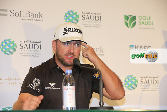 Graeme McDowell (NIR) speaking to media after the final round of  the Saudi International powered by Softbank Investment Advisers, Royal Greens G&CC, King Abdullah Economic City,  Saudi Arabia. 03/02/2020<br /> Picture: Golffile | Fran Caffrey<br /> <br /> <br /> All photo usage must carry mandatory copyright credit (© Golffile | Fran Caffrey)