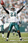 Philadelphia Eagles cornerback Asante Samuel #22 reacts after an interception during the NFL game between the Tampa Bay Buccaneers and the Philadelphia Eagles on October 11th 2009. The Eagles won 33-14 at Lincoln Financial Field in Philadelphia, Pennsylvania. (Photo By Brian Garfinkel)