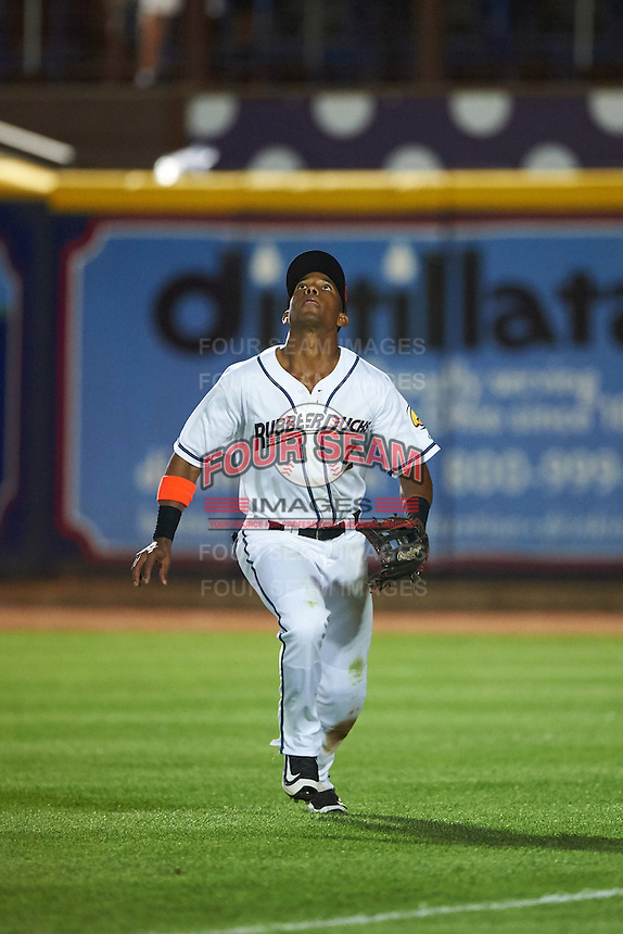 Akron RubberDucks right fielder Luigi Rodriguez (2) tracks a fly ball during a game against the Richmond Flying Squirrels on July 26, 2016 at Canal Park in Akron, Ohio .  Richmond defeated Akron 10-4.  (Mike Janes/Four Seam Images)