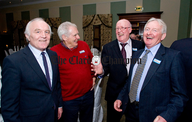 Augustin Hennessey with Jimmy Mc Mahon, Malachy Collison and Neil Heffernan. Photograph by Declan Monaghan