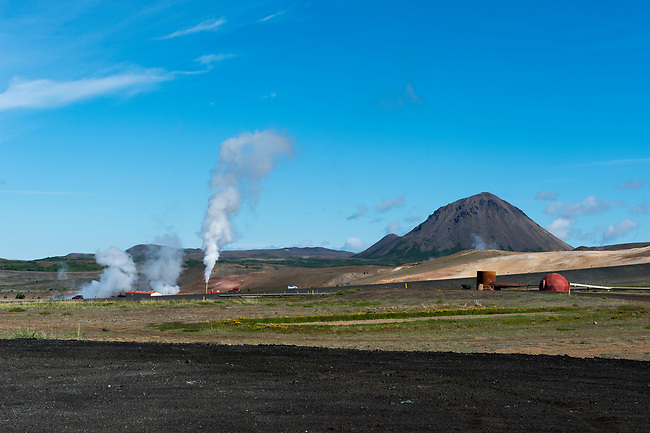 View of the Krafla Geothermic Power Station at Lake Myvatn in Northeast Iceland.