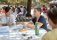 Eric Sundberg, Associate Professor, Mathematics. Incoming first years meet with their faculty advisors during the Major Information Sessions & Advising part of Orientation in the Academic Quad, Aug. 24, 2015.<br /> (Photo by Marc Campos, Occidental College Photographer)