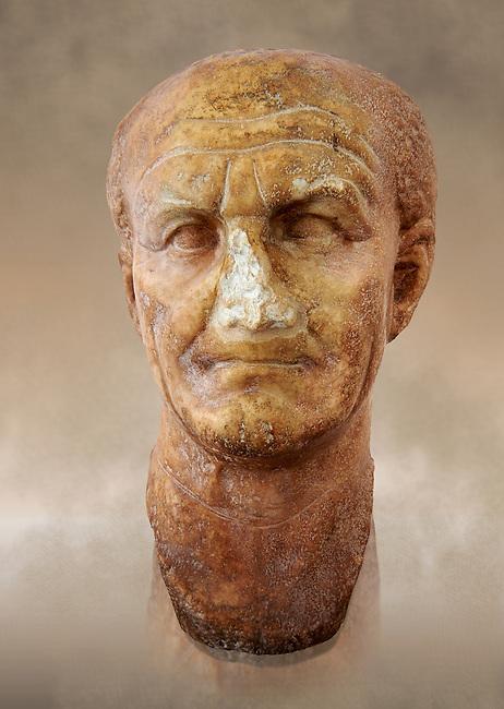 Roman sculpture of the Emperor Vespesien, excavated  from Althiburos sculpted circa  69-79AD. The Bardo National Museum, Tunis, Inv No: C.1025