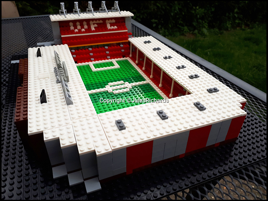 BNPS.co.uk (01202 558833)Pic: JulesRichards/BNPS<br /> <br /> Bescot Stadium, Walsall FC.<br /> <br /> Football fan Jules Richards has built all 92 football grounds in England and Wales out of Lego.<br /> <br /> Jules, 45, made his first stadium out of old Lego he found in his loft three years ago.<br /> <br /> Now, he is celebrating having completed all the Premier League and Football League grounds, finishing with Preston North End's Deepdale.<br /> <br /> The supermarket manager spent up to 12 hours on each stadium and used on average 1,300 Lego bricks to make them look uncannily similar to the real thing.<br /> <br /> He has used over 100,000 Lego blocks and spent £10,000 on his mammoth undertaking, recouping some of the money by selling stadiums for £150 a go.