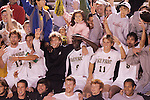 8 December 2007: Wake Forest players and fans celebrate their team's advancement to the NCAA Final Four. Wake Forest University defeated Notre Dame University 1-0 in overtime at Spry Stadium in Winston-Salem, NC in an NCAA Men's Soccer tournament quarterfinal.