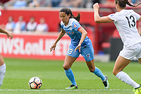 Bridgeview, IL - Sunday August 20, 2017: Christen Press during a regular season National Women's Soccer League (NWSL) match between the Chicago Red Stars and FC Kansas City at Toyota Park. KC Kansas City won 3-1.