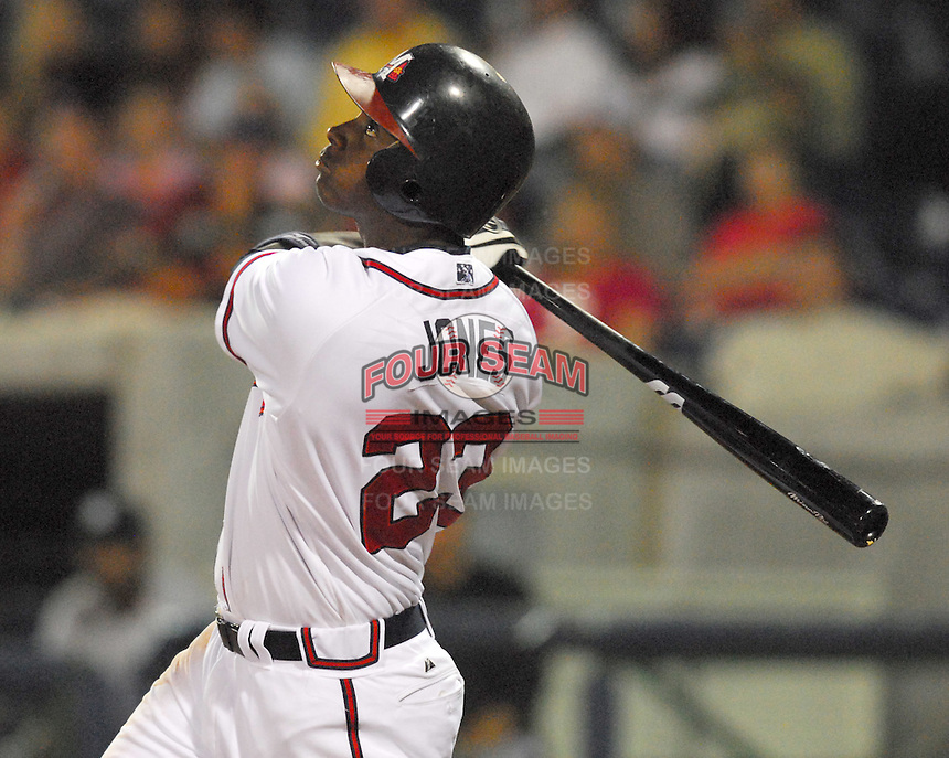 Outfielder Brandon Jones of the Mississippi Braves, the Atlanta Braves' Class AA affiliate of the Southern League, in a game April 23, 2007, against the Birmingham Barons at Trustmark Park in Pearl, Miss. Photo by:  Tom Priddy/Four Seam Images