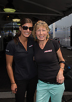 May 31, 2013; Englishtown, NJ, USA: NHRA top fuel dragster driver Leah Pruett poses for a photo with mother Linda Pruett during qualifying for the Summer Nationals at Raceway Park. Mandatory Credit: Mark J. Rebilas-