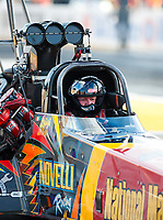 Sep 29, 2017; Madison , IL, USA; NHRA top fuel driver Luigi Novelli during qualifying for the Midwest Nationals at Gateway Motorsports Park. Mandatory Credit: Mark J. Rebilas-USA TODAY Sports