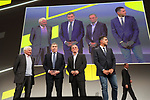 Raymond Poulidor (FRA)  and 5 time winners Eddy Merckx (BEL), Bernard Hinault (FRA) and Miguel Indurain (ESP) on stage at the Tour de France 2019 route presentation held at Palais de Congress, Paris, France. 25th October 2018.<br />