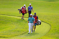 Louis Oosthuizen (RSA) and Paul Waring (ENG) on the 18th fairway during the 3rd round of the WGC HSBC Champions, Sheshan Golf Club, Shanghai, China. 02/11/2019.<br /> Picture Fran Caffrey / Golffile.ie<br /> <br /> All photo usage must carry mandatory copyright credit (© Golffile | Fran Caffrey)