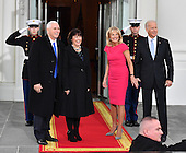 United States Vice President Joe Biden (R) and Dr. Jill Biden pose with Vice President-elect Mike Pence and wife Karen at the White House before the inauguration on January 20, 2017 in Washington, D.C.  Donald Trump becomes the 45th President of the United States.  <br /> Credit: Kevin Dietsch / Pool via CNP