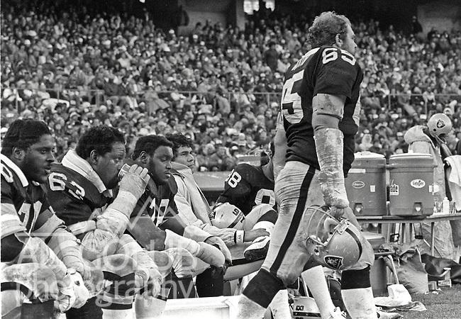 Oakland Raiders vs Dallas Cowboys at Oakland-Alameda County Coliseum Sunday, December 7, 1980. l-R: Tackle Lindsey Mason (71), Guard Gene Upshaw (63), Tackle Art Shell, Quarterback Jim Pulnkett (16) and walking Guard Mickey Marvin..Raiders lost to the Cowboys 13 -19, but they did will the Superbowl in post season.