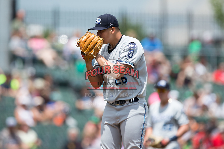 West Michigan Whitecaps starting pitcher Eudis Idrogo (26) looks to his catcher for the sign against the Dayton Dragons at Fifth Third Field on May 29, 2017 in Dayton, Ohio.  The Dragons defeated the Whitecaps 4-2.  (Brian Westerholt/Four Seam Images)