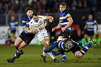 Phil Dollman of Exeter Chiefs is double-tackled. Aviva Premiership match, between Bath Rugby and Exeter Chiefs on March 23, 2018 at the Recreation Ground in Bath, England. Photo by: Patrick Khachfe / Onside Images