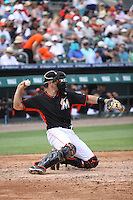 Vinny Rottino (33) for the Miami Marlins sends a practice throw back to the pitcher during an inning for a spring training game against the Washington Nationals at the Roger Dean Complex in Jupiter, Florida on March 10, 2015. Miami defeated Washington 2-1. (Stacy Jo Grant/Four Seam Images)