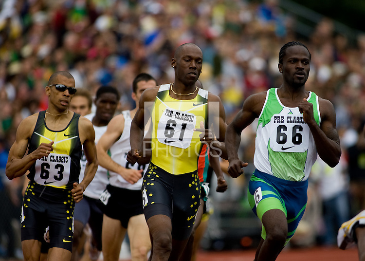 EUGENE, OR--From right, Sherridan Kirk, Khavedis, Robinson, Gary Reed race in the men's 800m at the Steve Prefontaine Classic, Hayward Field, Eugene, OR. SUNDAY, JUNE 10, 2007. PHOTO © 2007 DON FERIA