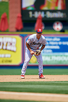 Reading Fightin Phils third baseman Damek Tomscha (13) during the second game of a doubleheader against the Portland Sea Dogs on May 15, 2018 at FirstEnergy Stadium in Reading, Pennsylvania.  Reading defeated Portland 9-8.  (Mike Janes/Four Seam Images)