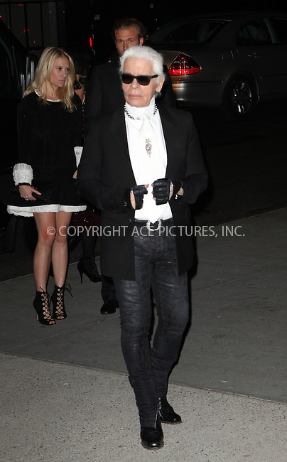 WWW.ACEPIXS.COM<br /> <br /> November 5 2013, New York City<br /> <br /> Karl Largerfeld arriving at the Museum of Modern Art 2013 Film benefit - A Tribute To Tilda Swinton on November 5, 2013 in New York City. <br /> <br /> By Line: Zelig Shaul/ACE Pictures<br /> <br /> <br /> ACE Pictures, Inc.<br /> tel: 646 769 0430<br /> Email: info@acepixs.com<br /> www.acepixs.com