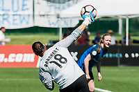 Kansas City, MO - Saturday May 13, 2017:  Nicole Barnhart throws ball to Becky Sauerbrunn during a regular season National Women's Soccer League (NWSL) match between FC Kansas City and the Portland Thorns FC at Children's Mercy Victory Field.