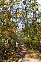 Father and young children walking along a trail in  Pacific Spirit Regional Park and nature preserve, Vancouver, BC, Canada