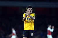 Morgan Gibbs-White of Wolves applauds the Wolves fans after Arsenal vs Wolverhampton Wanderers, Premier League Football at the Emirates Stadium on 11th November 2018