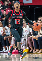 COLLEGE PARK, MD - FEBRUARY 9: Khadaizha Sanders #12 of Rutgers moves up court during a game between Rutgers and Maryland at Xfinity Center on February 9, 2020 in College Park, Maryland.