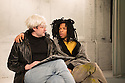 A THOUSAND MILES OF HISTORY, a new play, written and directed by Harold Finley, opens at the Bussey Building, The Royal Court's theatre local, in Peckham Rye. The play is set in the 1980s and centres on the relationship by the three artists: Andy Warhol, Keith Haring and Jean-Michel Basquiat. Picture shows: Adam Riches (Andy Warhol) and Michael Walters (Jean-Michel Basquiat).