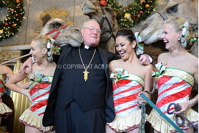 www.acepixs.com<br /> November 1, 2016 New York City<br /> <br /> Cardinal Timothy M. Dolan blessing the animals of the Living Nativity before the first rehearsals for The Christmas Spectacular Starring the Radio City Rockettes. <br /> <br /> Credit: Kristin Callahan/ACE Pictures<br /> <br /> <br /> Tel: 646 769 0430<br /> Email: info@acepixs.com