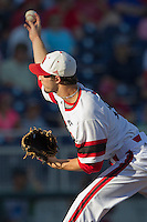 North Carolina State pitcher Logan Jernigan (14) delivers a pitch to the plate against the UCLA Bruins during Game 8 of the 2013 Men's College World Series on June 18, 2013 at TD Ameritrade Park in Omaha, Nebraska. The Bruins defeated the Wolfpack 2-1, eliminating North Carolina State from the tournament. (Andrew Woolley/Four Seam Images)