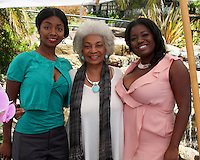 LOS ANGELES - AUG 20:  Shawn Mitchell (Sister), Nichelle Nichols, Julia Pace Mitchell at the Julia Pace Mitchell Bridal Shower at the W Hotel - Westwood on August 20, 2011 in Westwood, CA