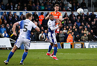 Blackpool's Ben Heneghan competing with Bristol Rovers' Abu Ogogo <br /> <br /> Photographer Andrew Kearns/CameraSport<br /> <br /> The EFL Sky Bet League Two - Bristol Rovers v Blackpool - Saturday 2nd March 2019 - Memorial Stadium - Bristol<br /> <br /> World Copyright © 2019 CameraSport. All rights reserved. 43 Linden Ave. Countesthorpe. Leicester. England. LE8 5PG - Tel: +44 (0) 116 277 4147 - admin@camerasport.com - www.camerasport.com